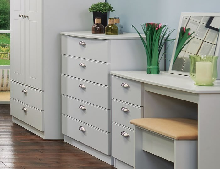 Yeadon Matt Grey 5 Drawer Chest