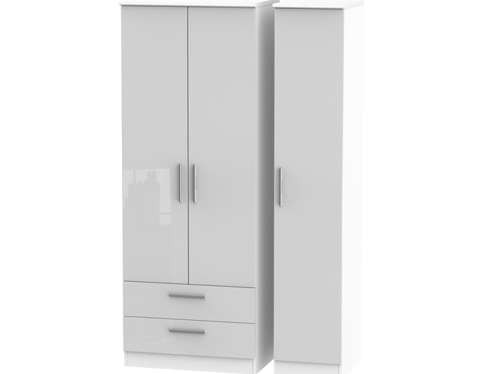 Bishop Kashmir High Gloss Triple 2 Drawer Wardrobe