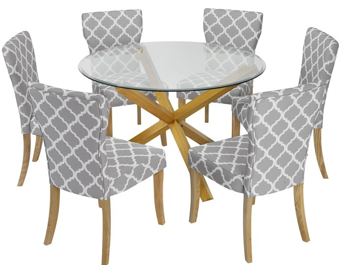 Ophelia Round Glass Dining Table and Wincott Chairs