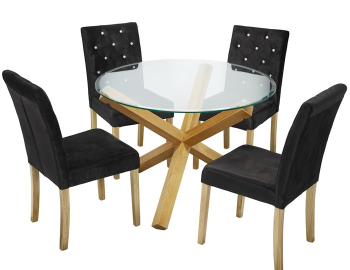 Ophelia Round Glass Dining Table And Misha Chairs