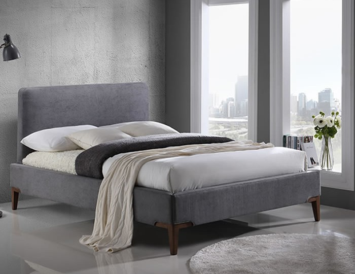 Clermont Grey Upholstered Bed