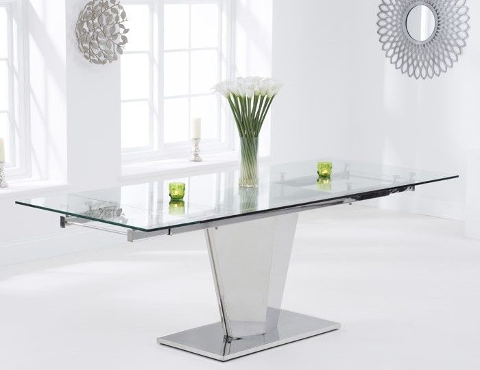 Lucille Clear Glass Extending Dining Table