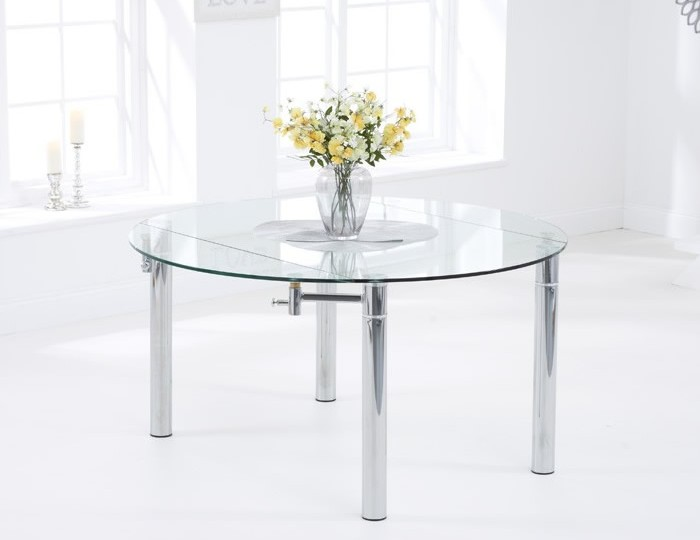 Millennium Clear Glass Extending Dining Table