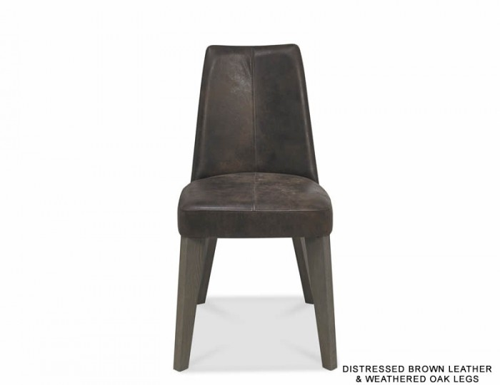 Cadell Weathered Oak And Brown Leather Upholstered Dining Chair