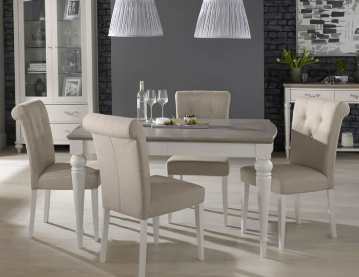 Montreux grey two tone 140 cm extending dining set for 2 tone dining room sets