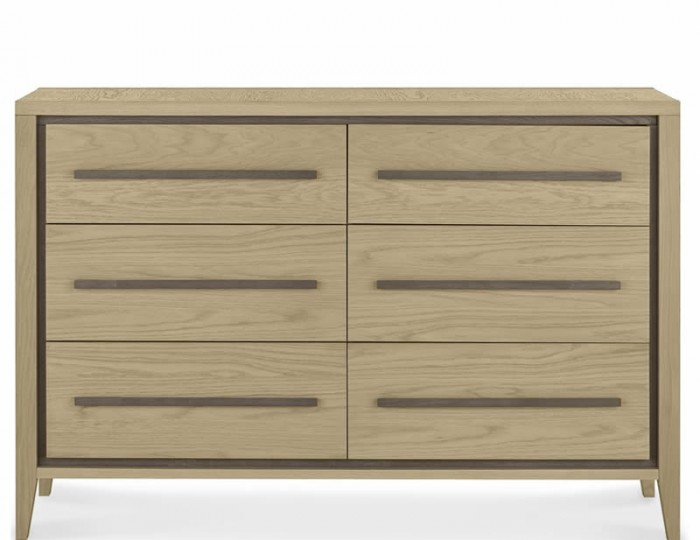 Rimini Weathered Oak 6 Drawer Wide Chest