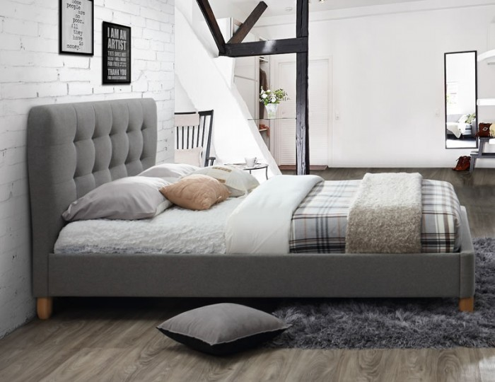 Orno Grey Upholstered Bed Frame