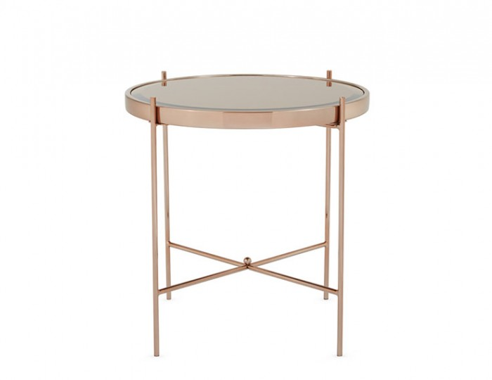 Taurus Rosegold and Glasstop Lamp Table