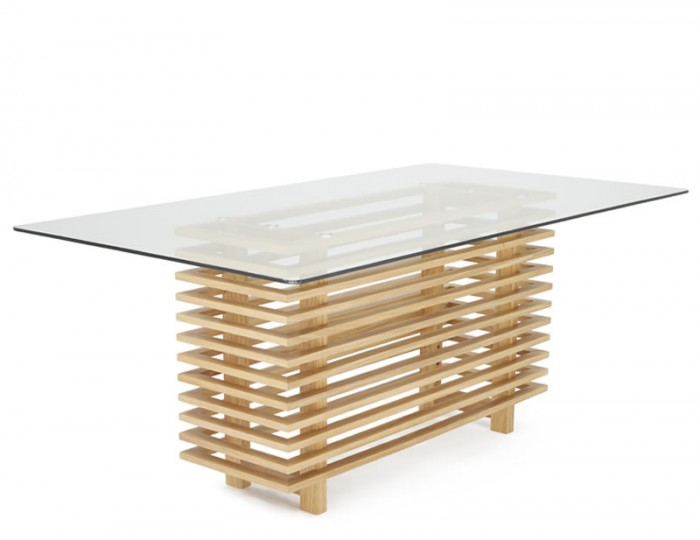 Holborn Glass and Oak Rectangular Dining Table