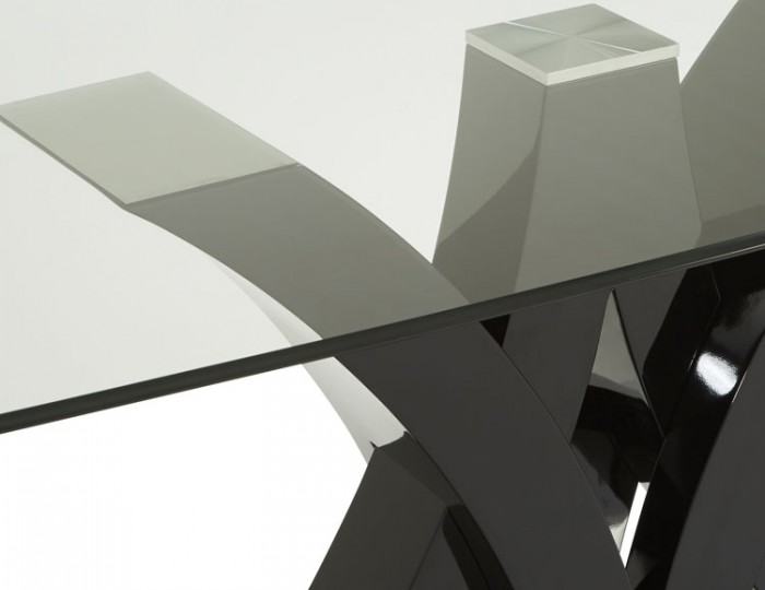 Barcelona Black High Gloss and Glass Dining Table
