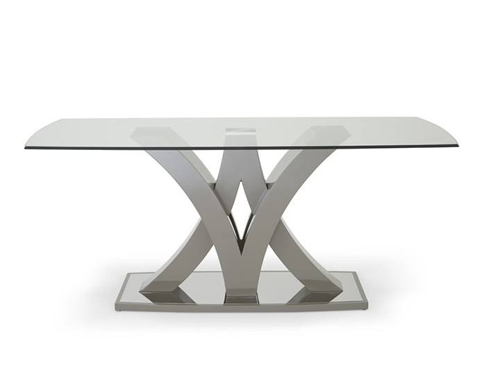 Barcelona Taupe High Gloss and Glass Dining Table