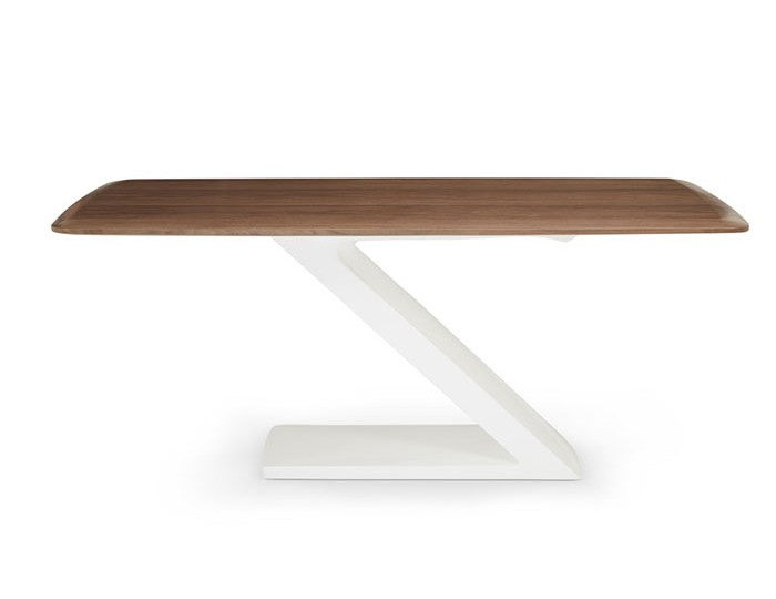 Paterna White High Gloss and Walnut Dining Table