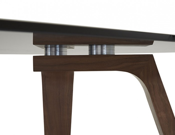 Seville Smoked Glass and Walnut Dining Table
