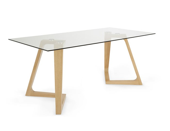 Seville Clear Glass and Oak Dining Table