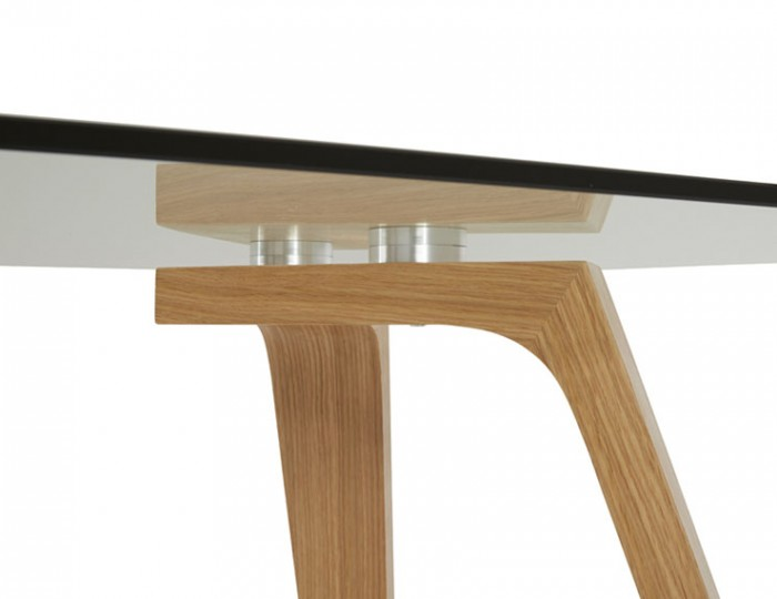 Seville Smoked Glass and Oak Dining Table