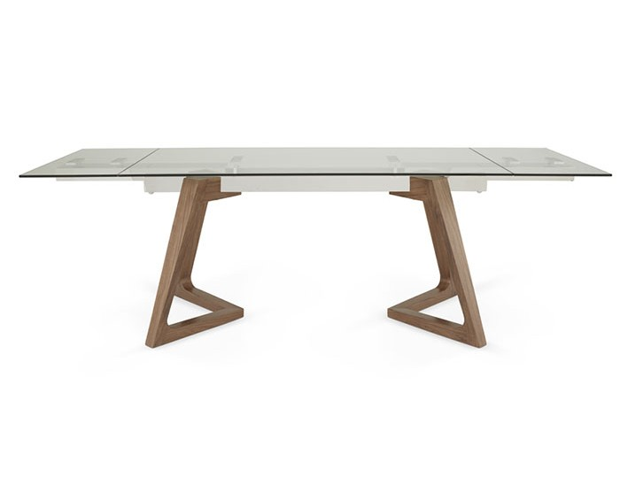 Seville Clear Glass And Walnut Extending Dining Table