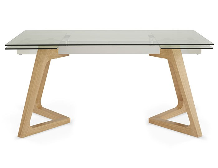 Seville Clear Glass And Oak Extending Dining Table Frances Hunt