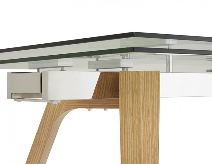 Seville Clear Glass and Oak Extending Dining Table