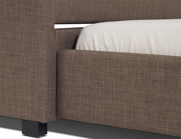 Lily Chocolate Upholstered Bed and Guest Bed