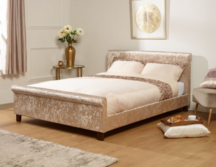Sienna Gold Crush Velvet Bed