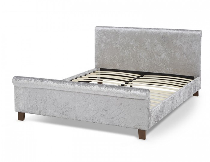 Sienna Silver Crush Velvet Bed