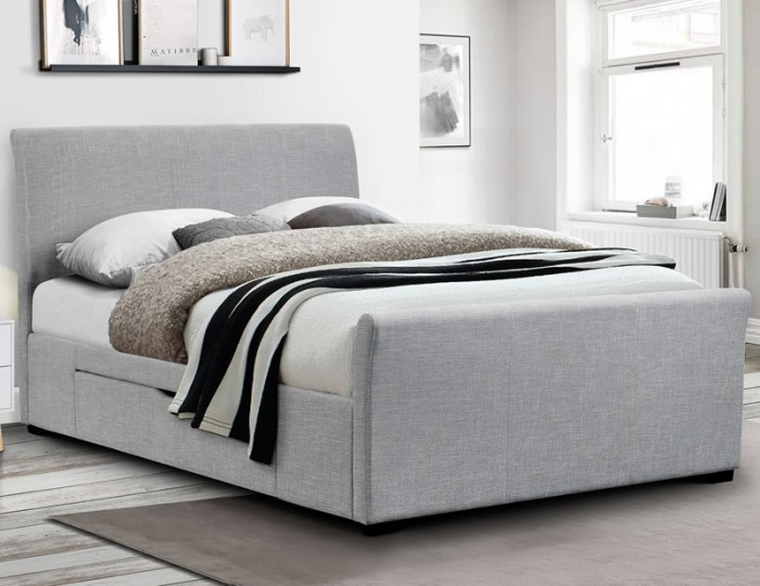 Capri Grey Upholstered Storage Bed Frame