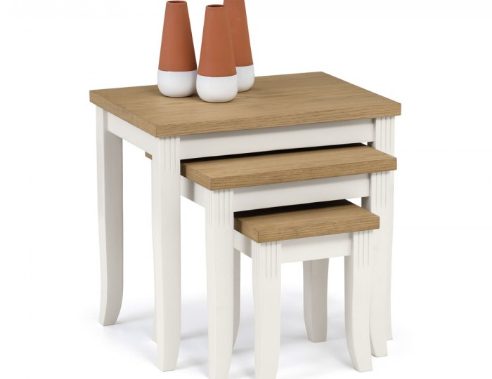 Palmetto White and Oak Nest of Tables