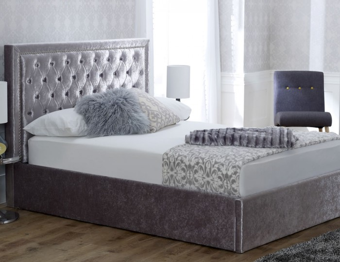 Rowanne Ice Velvet Upholstered Storage Bed