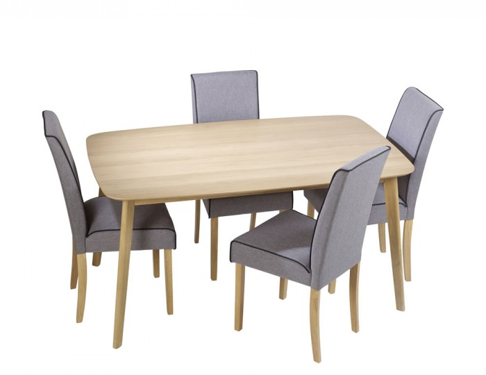 Fawler Oak Table And Grey Fabric Chairs Frances Hunt