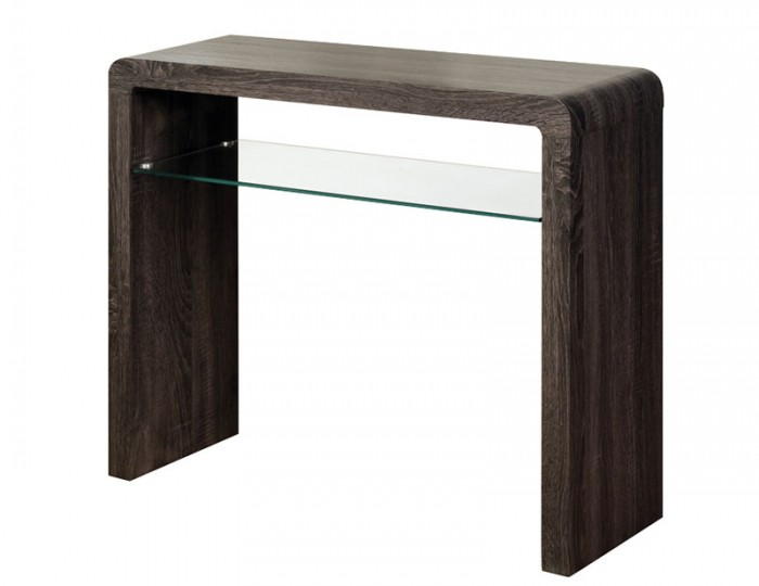 Deloro Charcoal Oak and Glass Medium Console Table
