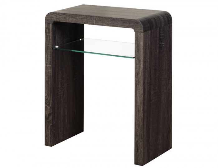Deloro Charcoal Oak and Glass Small Console Table