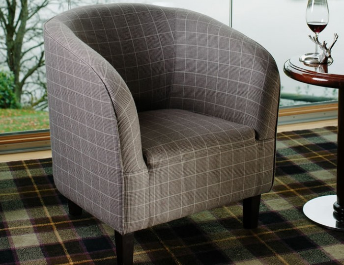 Hilda Peat Scottish Plaid Upholstered Tub Chair *Special Offer*
