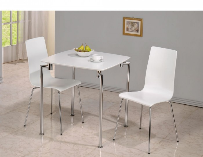 Dove white 2 seater square breakfast table and chairs for Two seat kitchen table