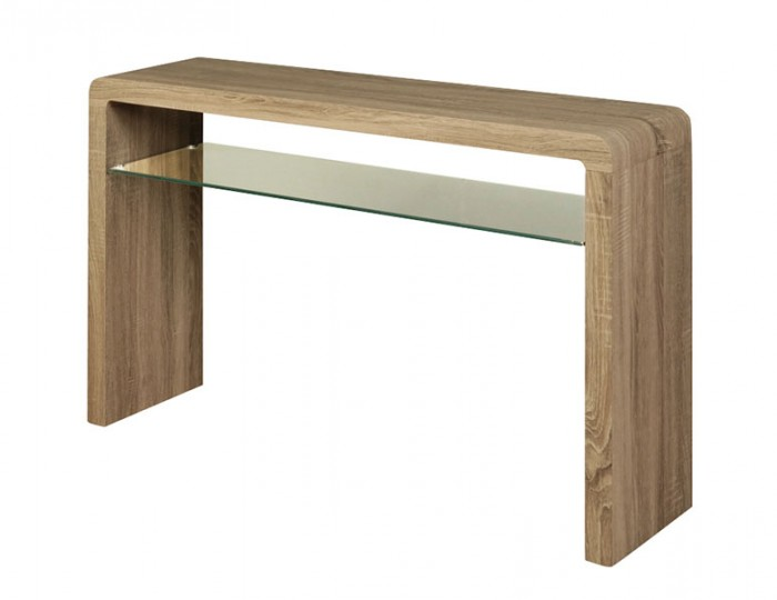 buy popular b6307 50508 Deloro Dark Oak and Glass Large Console Table