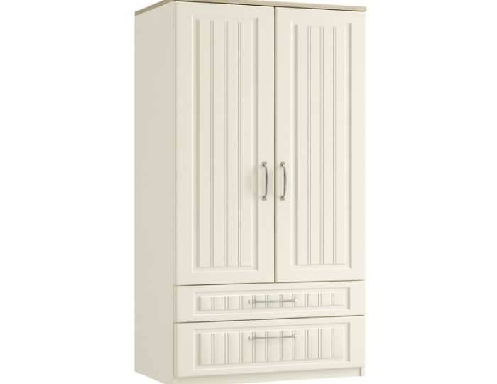 Piccolo Ivory and Oak 2 Door 2 Drawer Tall Wardrobe