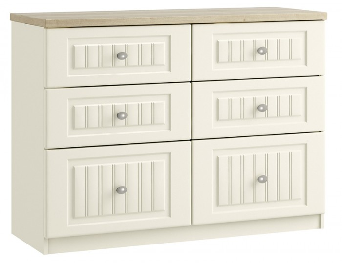 Piccolo Ivory and Oak 6 Drawer Wide Chest