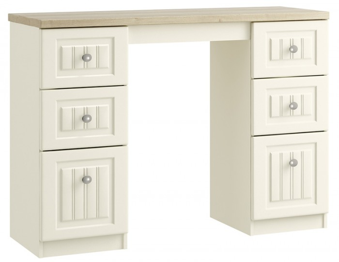 Piccolo Ivory and Oak Double Dressing Table