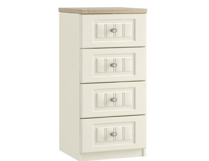 Piccolo Ivory and Oak 4 Drawer Narrow Chest