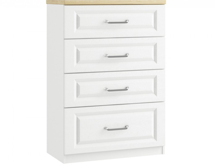 Pantano White and Oak 4 Drawer Deep Chest