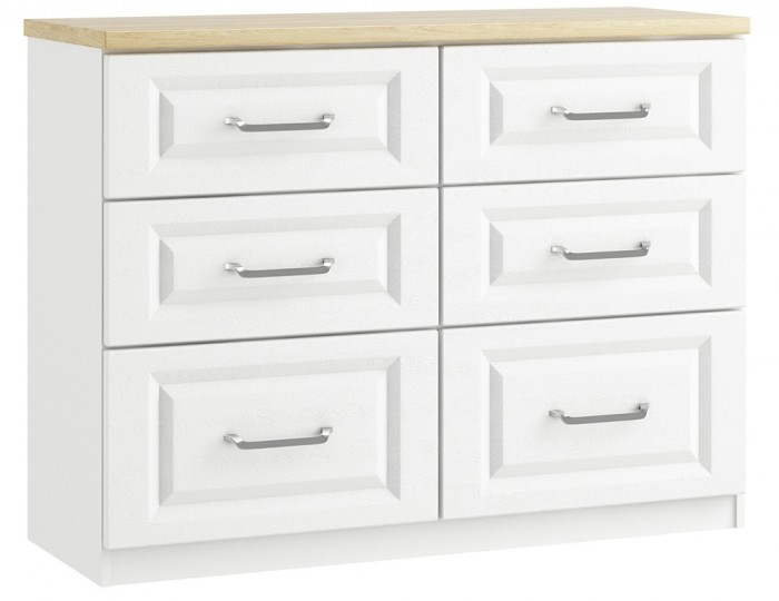 Pantano White and Oak 6 Drawer Wide Chest