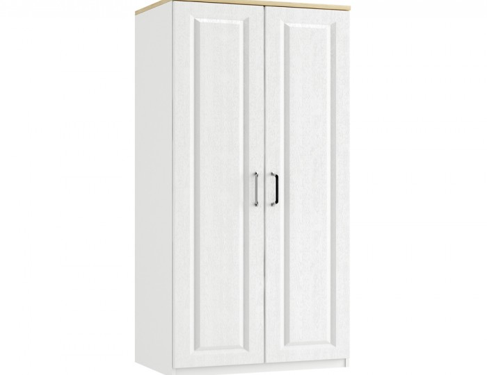 Pantano White and Oak 2 Door Tall Wardrobe