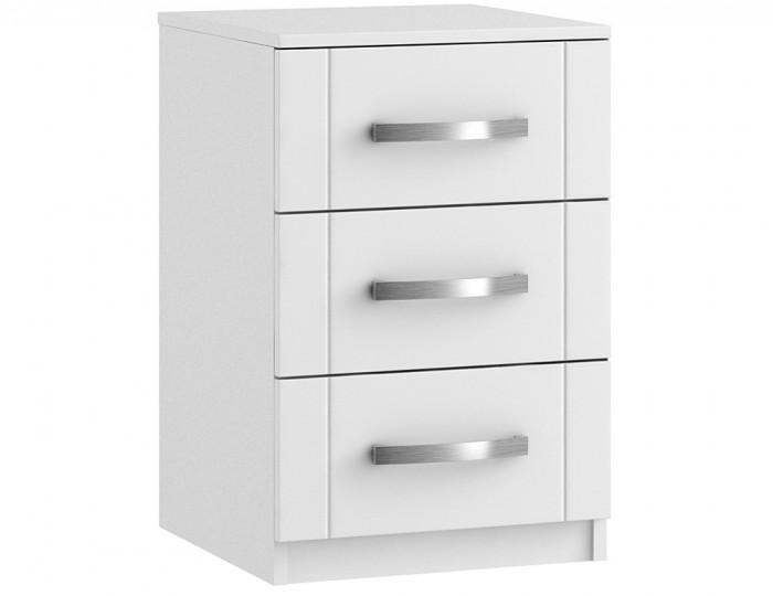 Aretina White 3 Drawer Bedside Chest