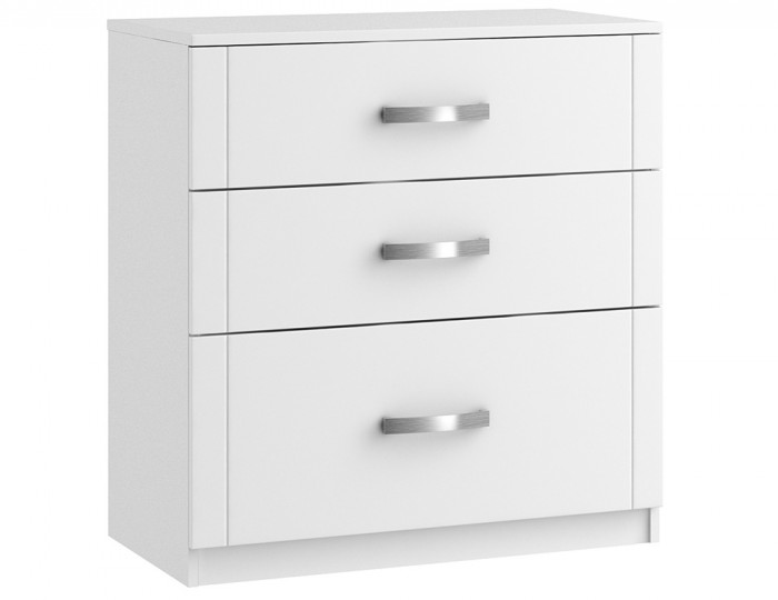 Aretina White 3 Drawer Deep Chest