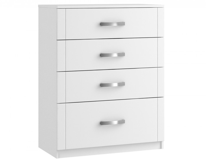 Aretina White 4 Drawer Deep Chest