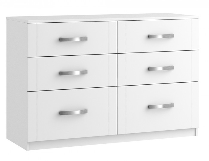 Aretina White 6 Drawer Wide Chest
