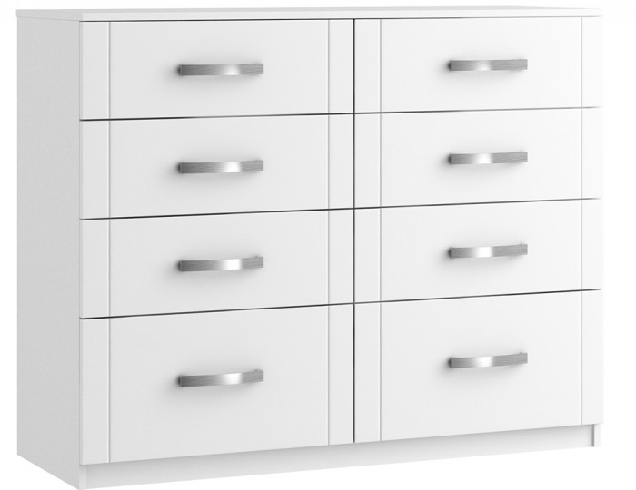 Aretina White 8 Drawer Wide Chest