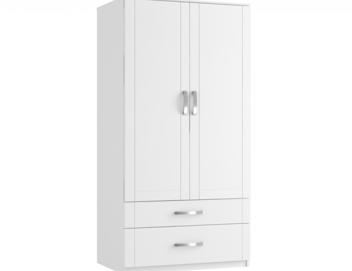 Aretina White 2 Door 2 Drawer Tall Wardrobe