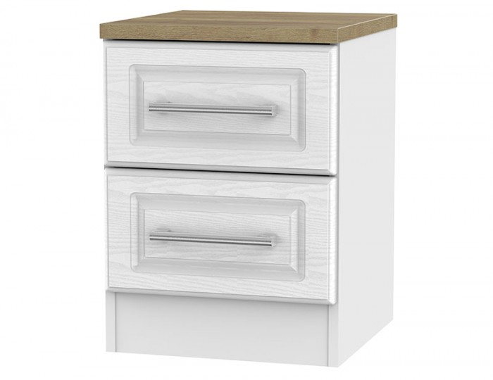 Winchester White Ash and Oak 2 Drawer Bedside Chest