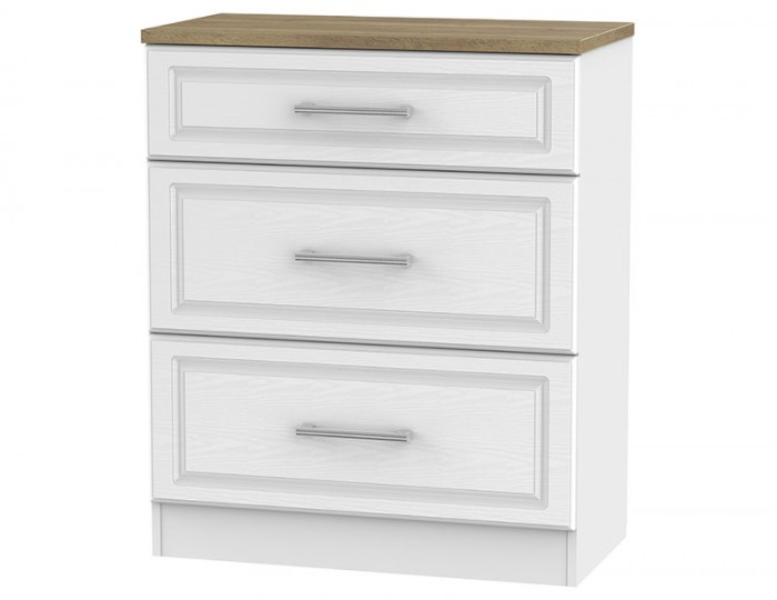Winchester White Ash and Oak 3 Drawer Deep Chest