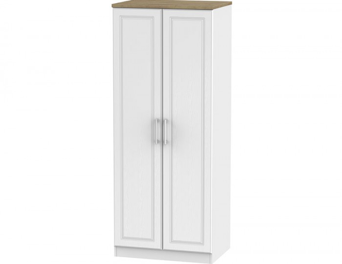 Winchester White Ash and Oak 2 Door Wardrobe
